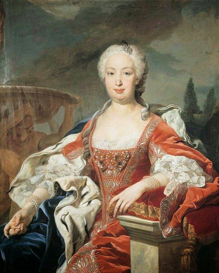 Born #OnThisDay in 1711: #BarbaraofPortugal (1711-58), Queen of Spain as spouse of #FerdinandoVI   Portrait by #LouisMichelvanLoo (1707-71), ca. 1740  #Braganza #Bourbon
