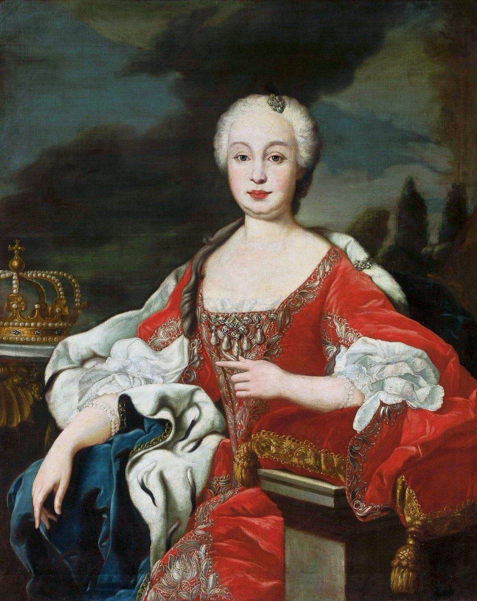 Born #OnThisDay in 1711: #BarbaraofPortugal (1711-58), Queen of Spain as spouse of #FerdinandoVI   Portrait after #LouisMichelvanLoo (1707-71), ca. 1746  #Braganza #Bourbon