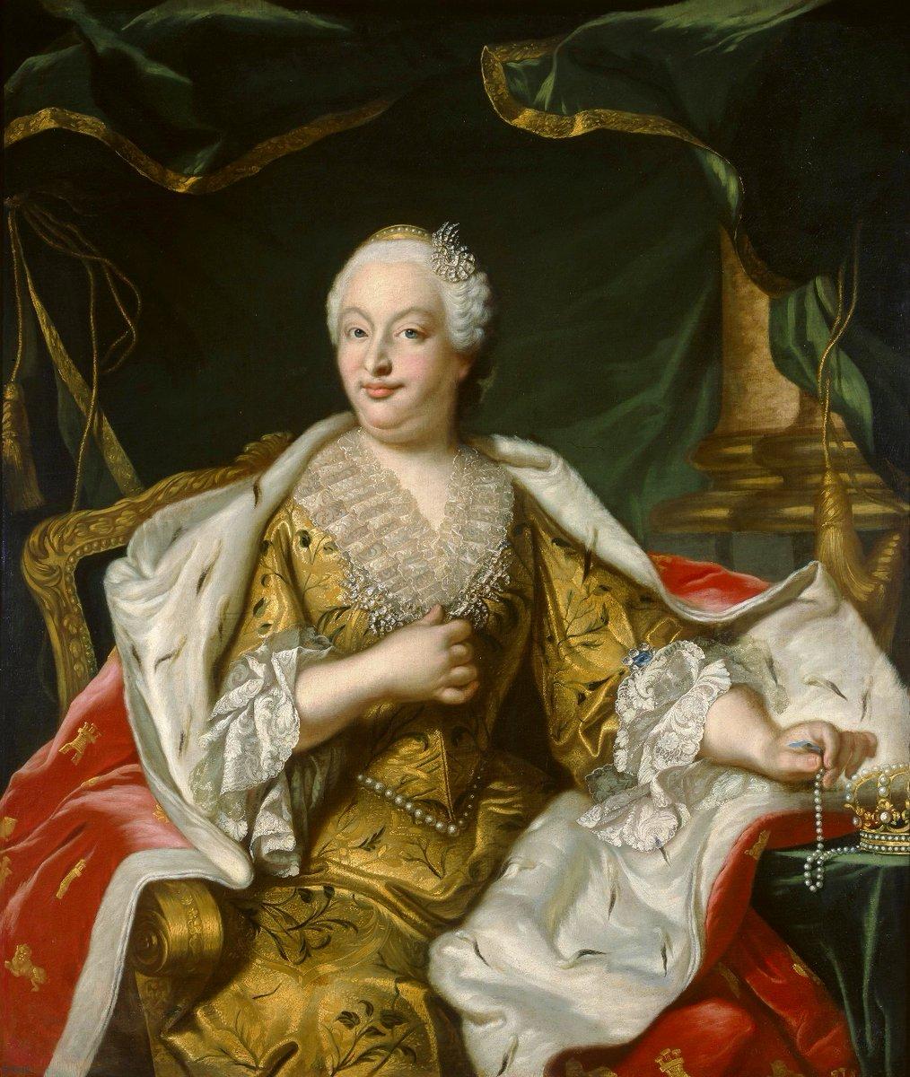 Born #OnThisDay in 1711: #BarbaraofPortugal (1711-58), Queen of Spain as spouse of #FerdinandoVI   Portrait after #LouisMichelvanLoo (1707-71), 18th Century  #Braganza #Bourbon
