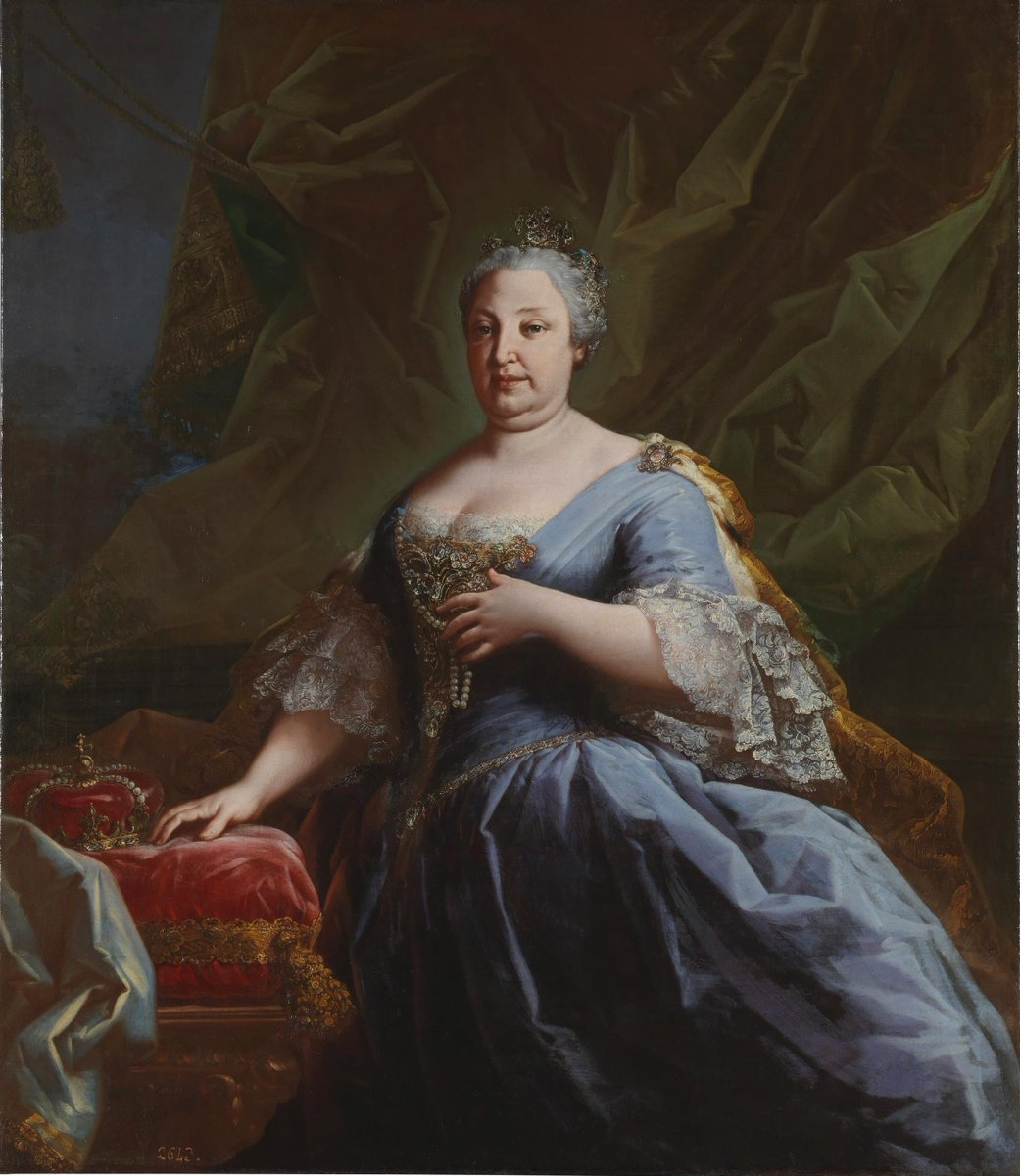 Born #OnThisDay in 1711: #BarbaraofPortugal (1711-58), Queen of Spain as spouse of #FerdinandoVI   Portrait by an Unknown Artist, ca. 1750   #Braganza #Bourbon
