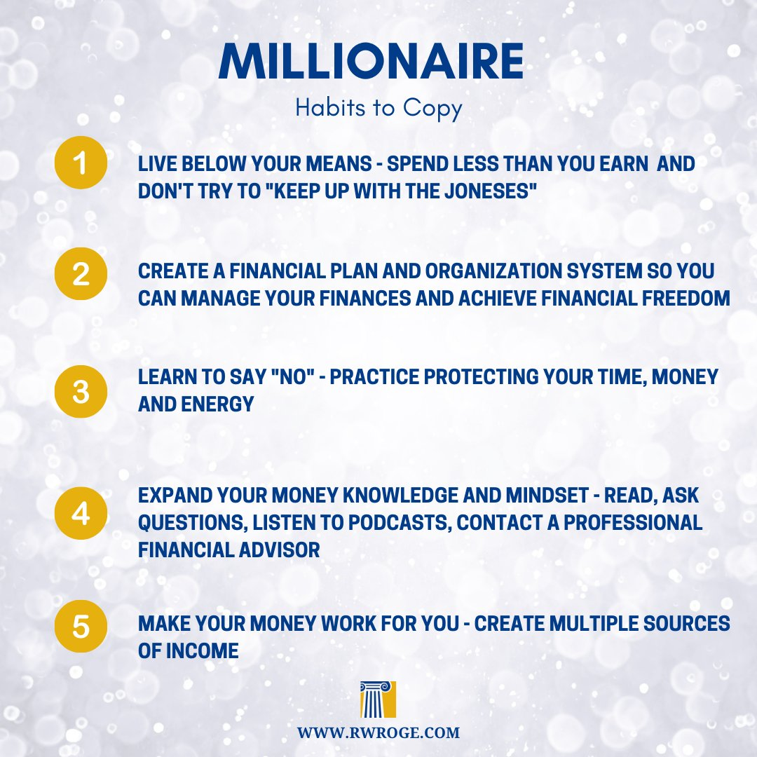 "Although there's no ""secret formula"" to #wealth accumulation, you can help prepare for #FinancialFreedom by copying some common #millionaire #habits. #feeonly #fiduciary #millionaires #wealthmanagement #businessowner #entrepreneur #fridayfeeling #fridaythoughts #fridaymotivation"