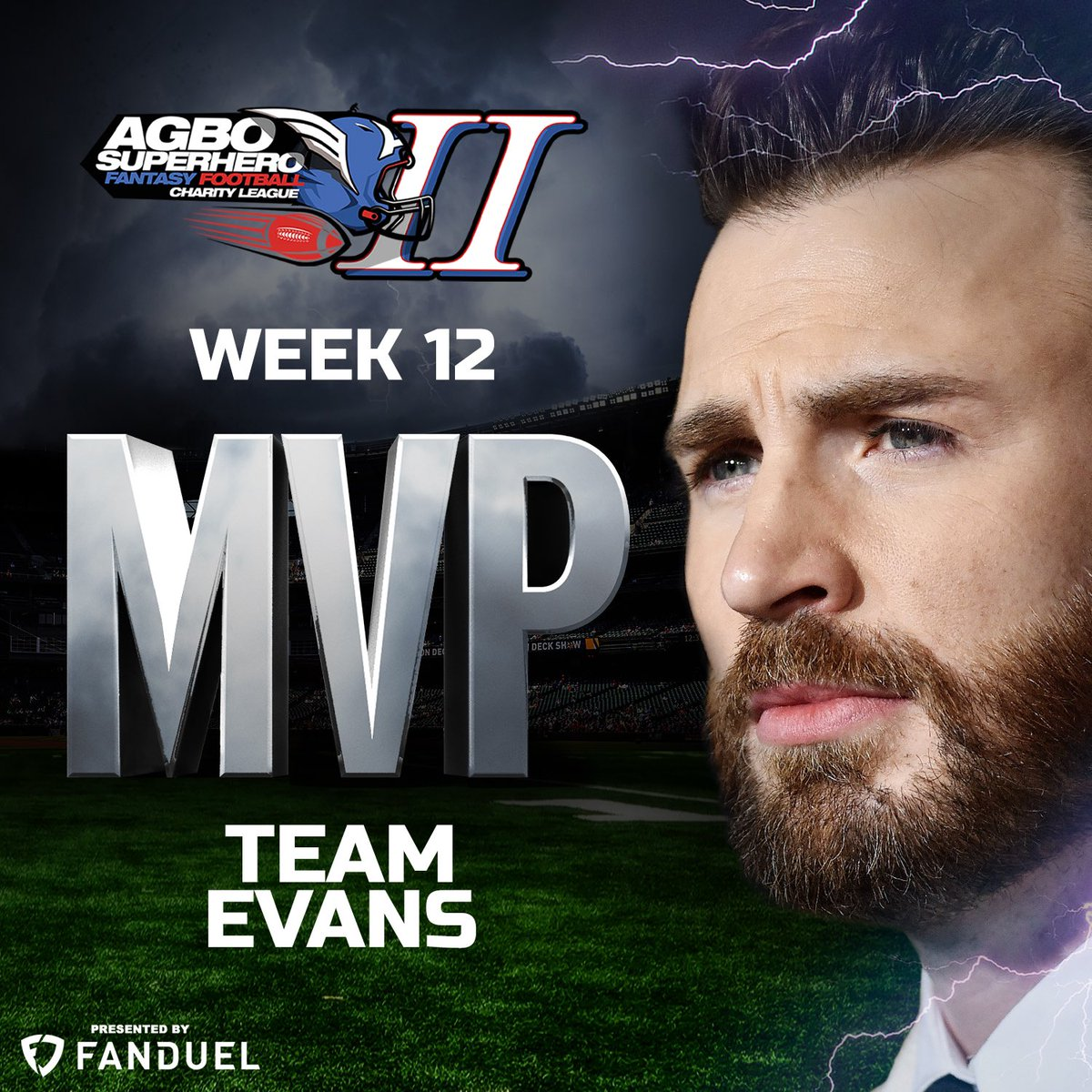 We knew he was worthy⚡️ also doesn't hurt when you have @KingHenry_2 on your fantasy football team. #TeamEvans we've been waiting for this one, TURN IT UP @ChrisEvans @chris_haven