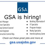 GSA is hiring! Check out our open job opportunities to learn more and apply: https://t.co/RDviqpCUtx @USAJOBS
