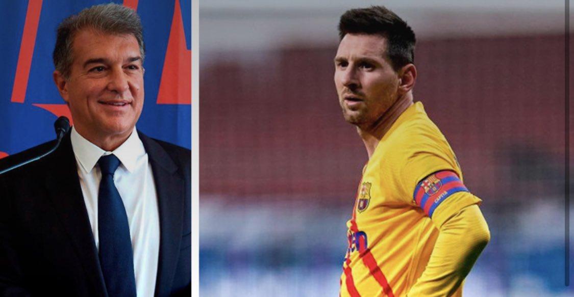 """LAPORTA: """"La última vez que hablé con Messi fue en octubre. Tengo la suerte de que haya una apreciación mutua y respeto entre nosotros. Me gustaría que esperara al nuevo presidente y escuchara la propuesta del Barça"""". @FCBarcelona @FCBarcelona_es #Laporta #Messi"""