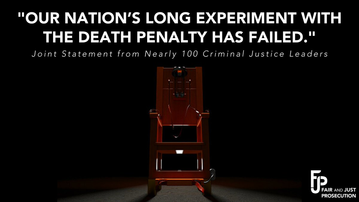 #ICYMI: I joined @fjp_org and nearly 100 other criminal justice leaders in calling for the immediate end to the federal death penalty.   The process is broken. It also implicates systemic racism and constitutional concerns.   Learn more: