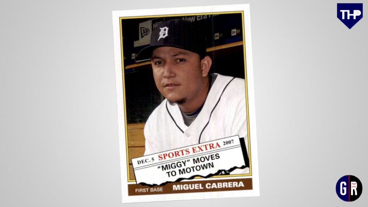 "#OTD in 2007 the Tigers trade Andrew Miller, Cameron Maybin, and 4 other prospects to the Marlins for Miguel Cabrera and Dontrelle Willis.  RT for a chance to win this 2020 Topps Archives ""Miggy Moves to Motown"" '76 retro style card from our @GroundersGifts store"