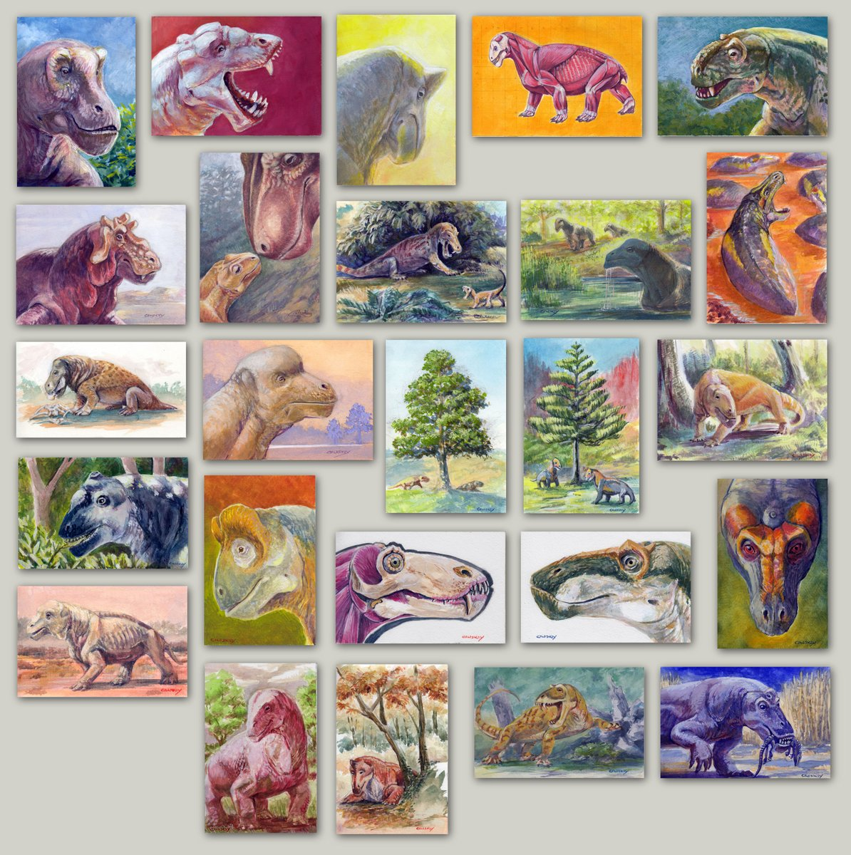 A #FossilFriday compilation of the first 25 mini-paintings for Dinocephalian #DrawDinovember/#Dinocephcember. It's been super rewarding to research these and see the series come together, and I appreciate everyone who has commented/liked/retweeted! The final 5 are on their way…