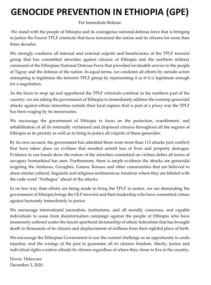 #GPE_MediaAlert: GPE has released the following statement on current issues regarding targeted genocidal attacks on ethnic #Amharas #Guraghes #Wolaytas #Gamos #Konsos in #Ethiopia.  We strongly condemn and call for the banishment of terrorist org #OLF #TPLF.  #HumanRightsDay2020