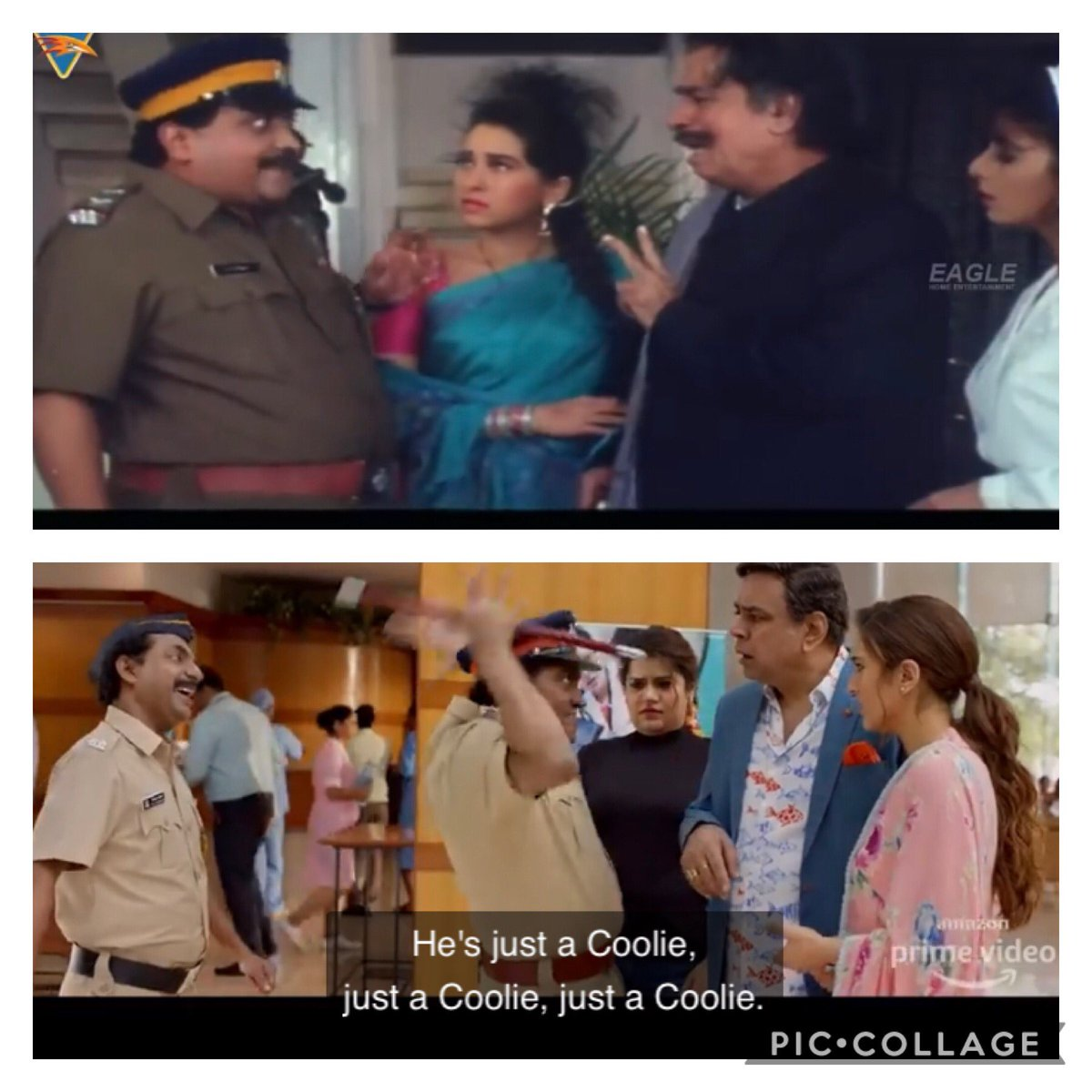 Here is more proof of how the modern day remake of #CoolieNo1 seems like a cut copy paste version of the original 90's super hit film. Ekdum chep diya picture ko @Varun_dvn @govindaahuja21 @SirPareshRawal #SaraAliKhan @ShikhaTalsania @iamjohnylever @jaavedjaaferi @rajpalofficial