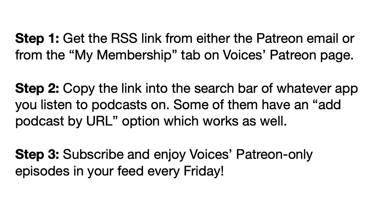 Since we're changing up our model this month, here's a handy guide on how to easily get Patreon episodes in your regular every day podcast feed! https://t.co/47pVYSli7b