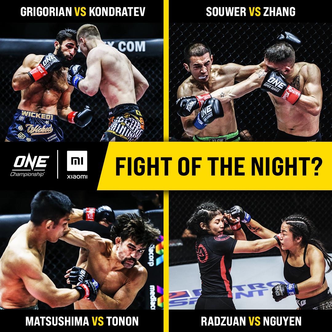 What's YOUR pick for Xiaomi Fight of the Night? 🤔 @MaratGrigorian @TUF108 @Garry_Tonon @killerbeemma #ONEBigBang #WeAreONE #ONEChampionship