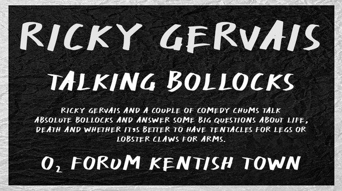 .@rickygervais brings his #TalkingBollocks show to @O2ForumKTown on Sunday