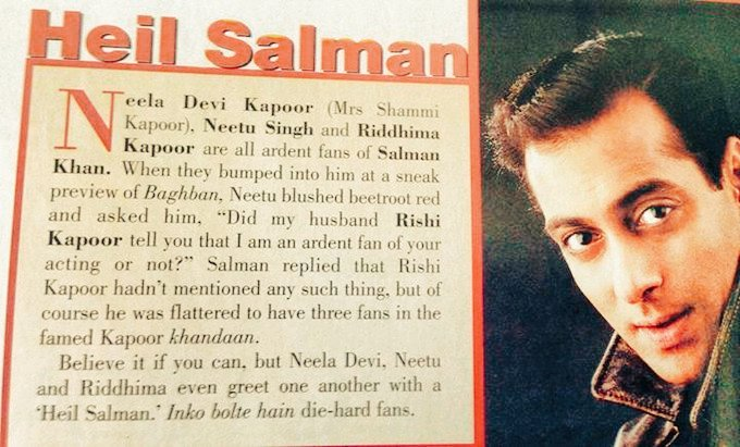 """#RanbirKapoor's Grandma, Mother&Sis R All Ardent Fans Of #SalmanKhan!Even Greet One Another With A'Heil SALMAN'  At Preview Of BAGHBAN,#NeetuSingh Blushed Beetroot Red Asked [@BeingSalmanKhan]Him""""Did My Husband Tell u That I M An Ardent Fan of Ur Acting""""  Best Wishes #NeetuKapoor"""