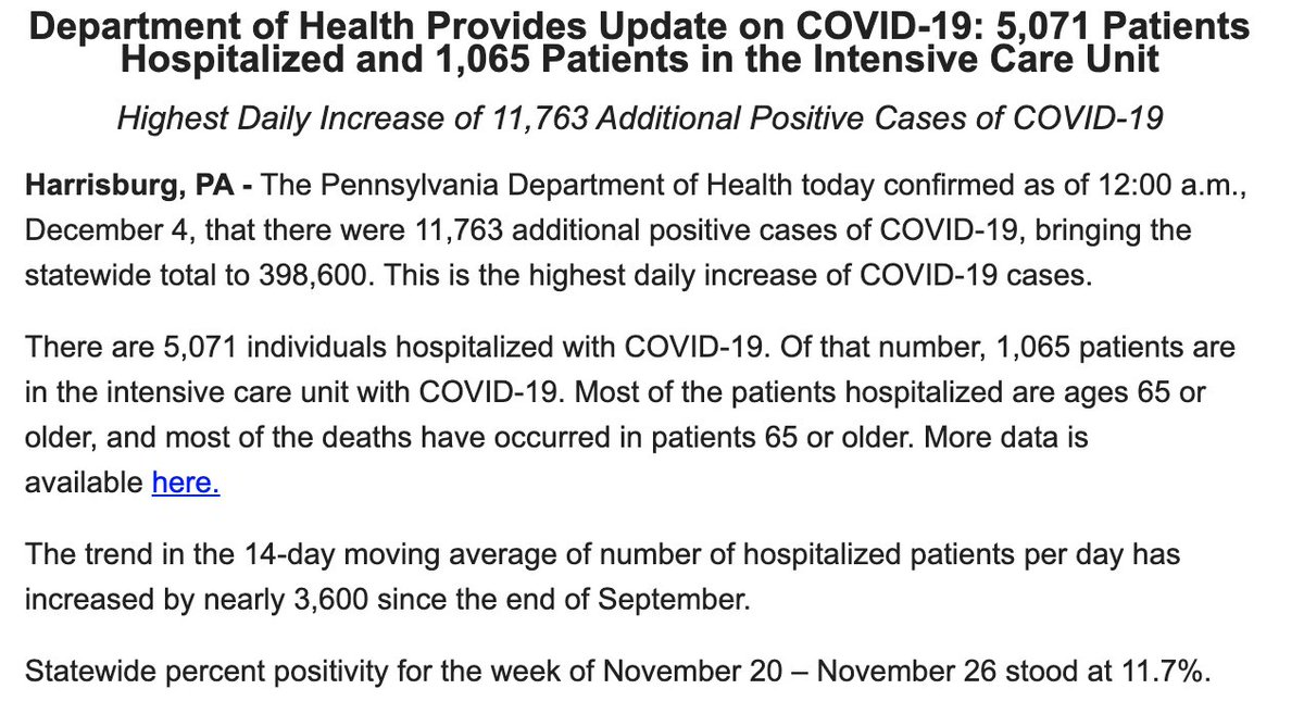 An update, from @ByJohnLMicek. Pa. Dept of Health releases new #COVID19 data.