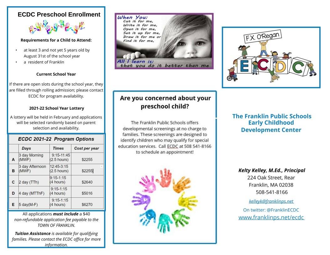 Early Childhood Development Center (ECDC) accepting applications for 2021-2022