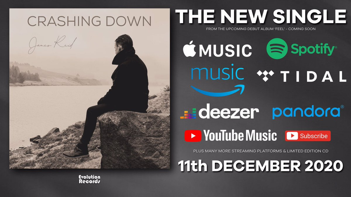 **1 WEEK TODAY**  The anticipated 2nd single release 'Crashing Down' from James Reid - out next Friday.  The debut single 'Come and Love Me' continues to have lots of #RadioPlay across the #UK #USA & #Europe - listen here:   #NewMusic #NewMusicAlert