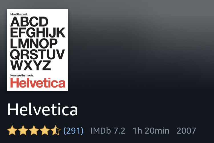 PS the 1hr20 min documentary on Helvetica has 291 reviews and a 4.5/5 rating! 🤩🤓 https://t.co/SF7W76MQPE