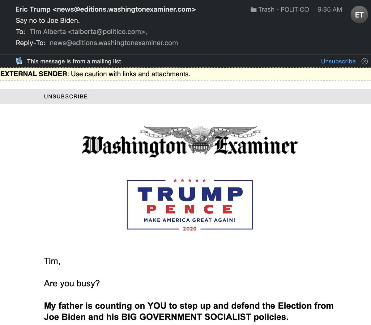 Replying to @TimAlberta: The Washington Examiner has thoughts about journalistic integrity.