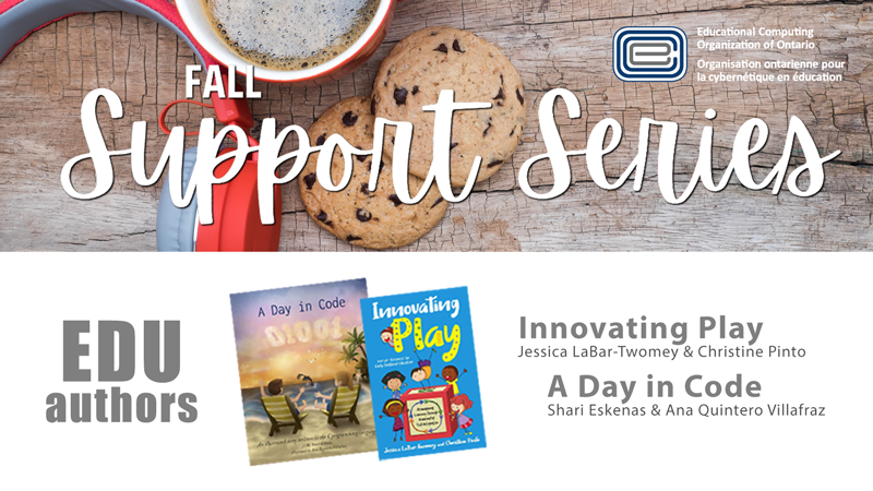 Excited to announce two more sponsors for the Fall #ECOOsupportseries! 'Innovating Play' @jlabar2me @PintoBeanz11 and 'A Day in Code' @Sundaelectronic. Two innovative books that will be a great read over the holidays! Winners announced on December 16.  https://t.co/AockQQwmSY