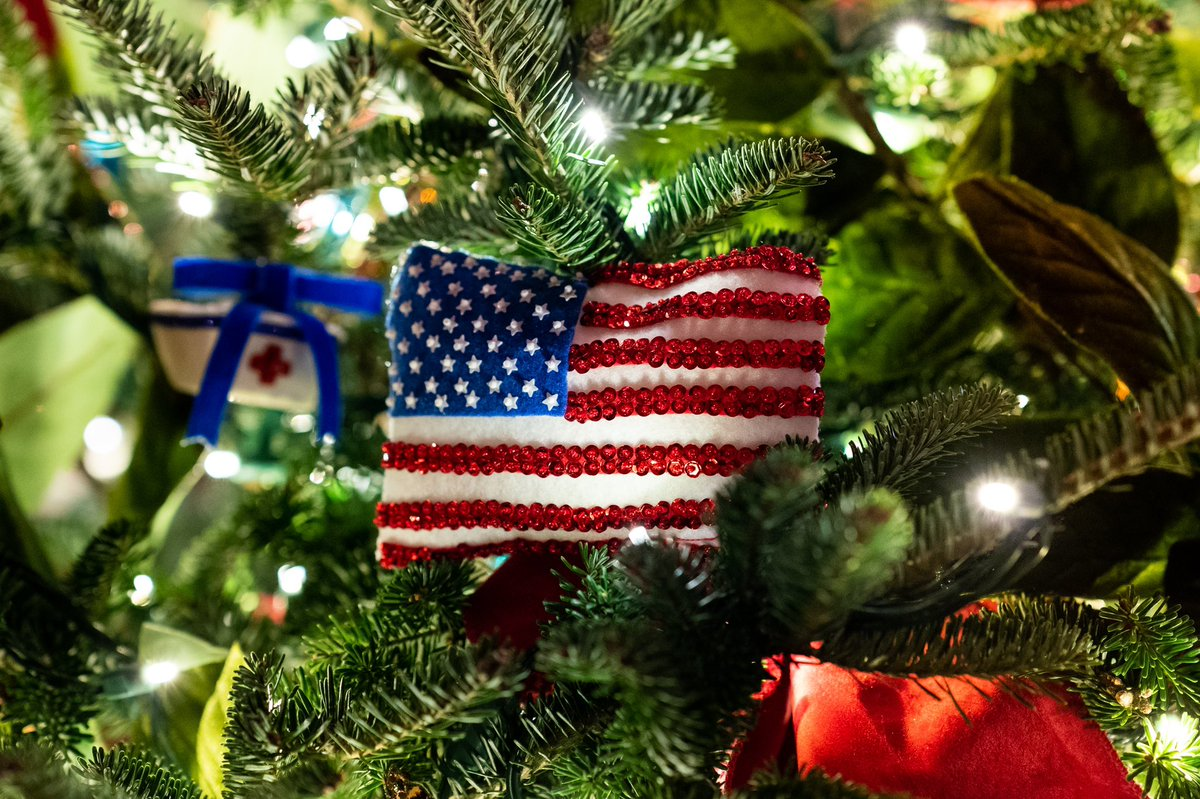 Our Nation's heroes are embedded in our hearts & they are truly what make America beautiful. The handmade ornaments in this year's @WhiteHouse Red Room salute the countless frontline workers, first responders & others who serve their communities. #WHChristmas