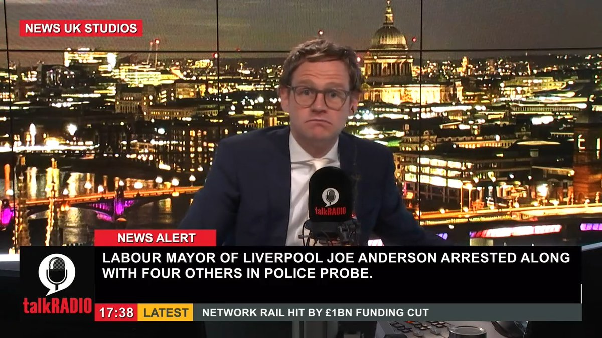 """Mark Dolan: """"The mayor of Liverpool Joe Anderson has been arrested along with four others in a police probe... it's quite an extraordinary story"""".  Watch @mrmarkdolan live ►"""