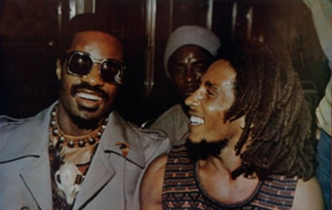 Stevie Wonder and Bob Marley, 1975
