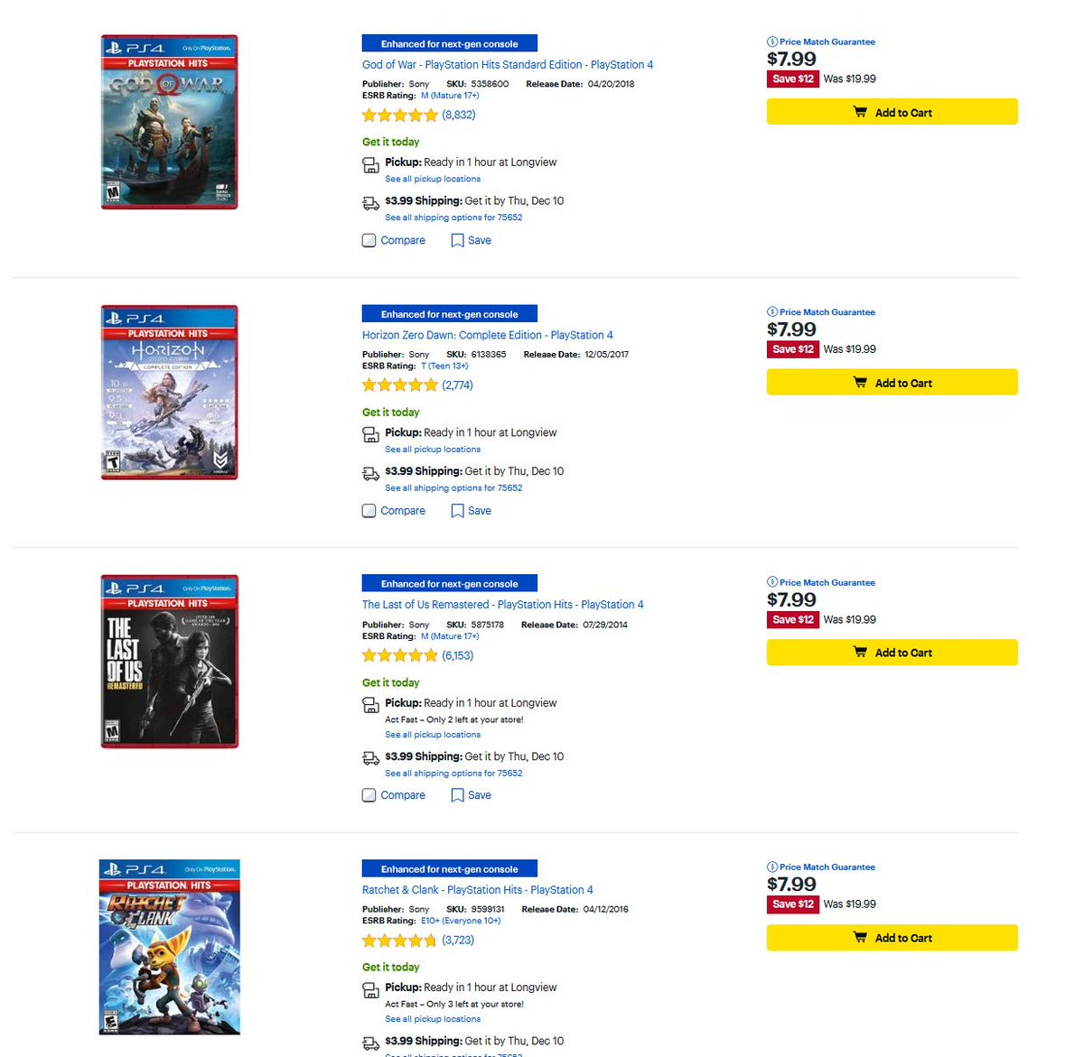 PS4 PlayStation Hits Titles $7.99 Each via Best Buy. 2