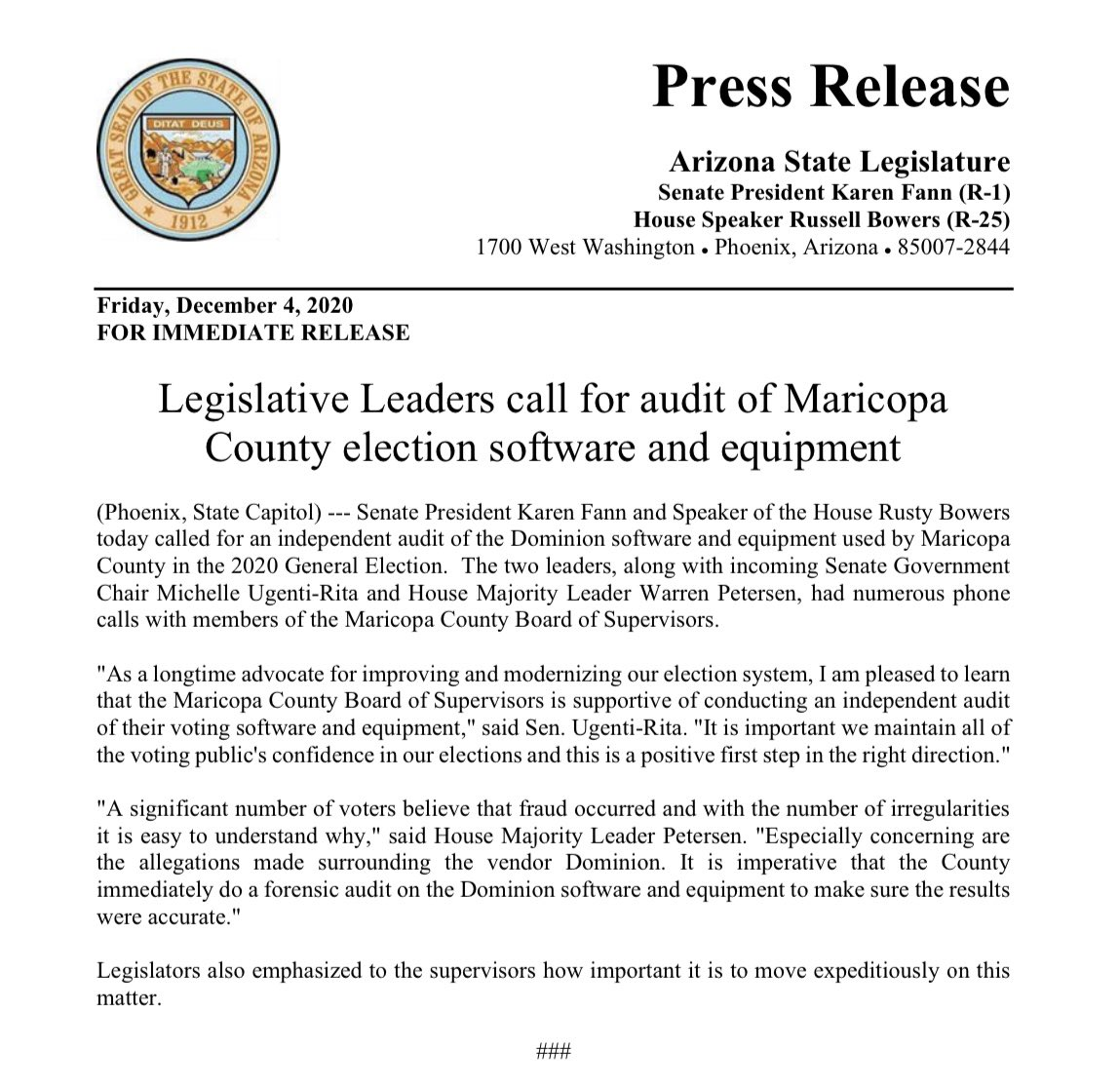 FOR IMMEDIATE RELEASE: Legislative Leaders call for audit of Maricopa County election software and equipment   #AZSenate #AZleg #Election @AZHouseGOP