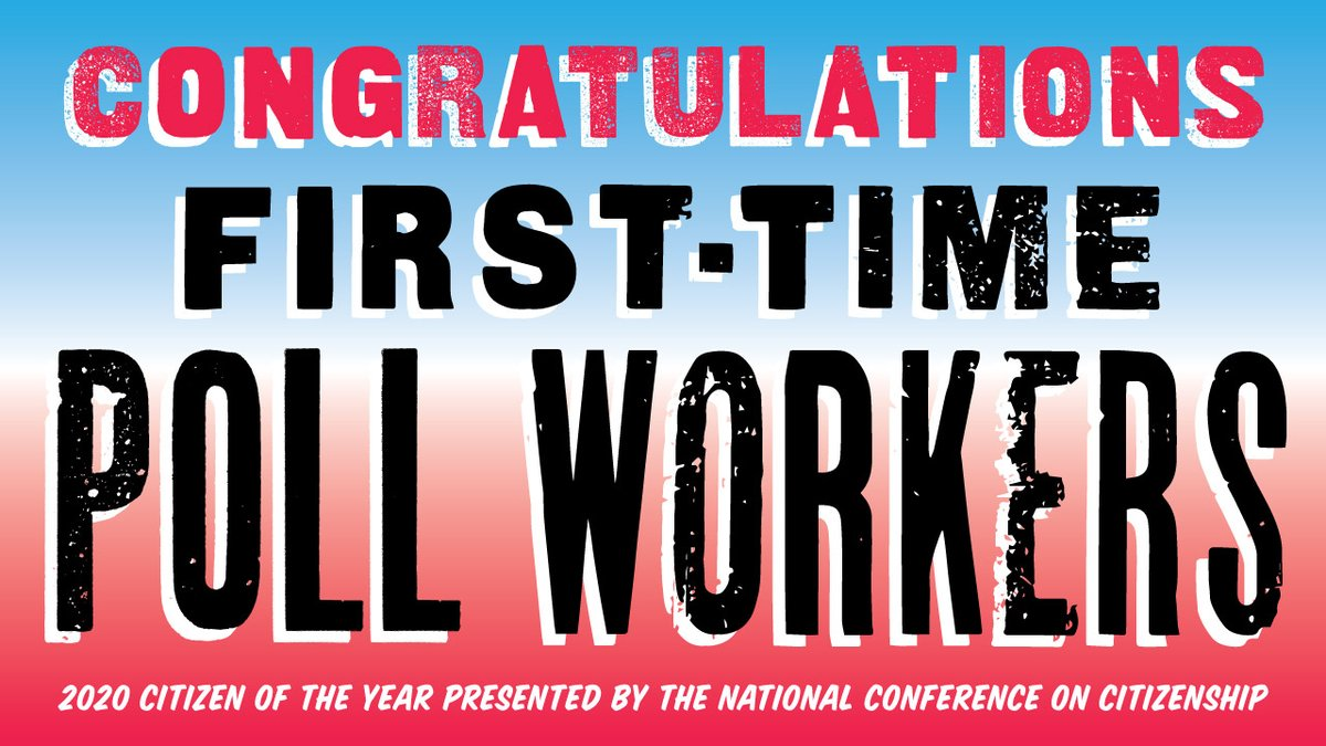 In an unprecedented election year, congratulations to first-time poll workers for being named #CitizenOfTheYear by @NCoC. We recognize first-time poll workers for their willingness to step up for the health of our communities and of our democracy. #ThankYouElectionHeroes