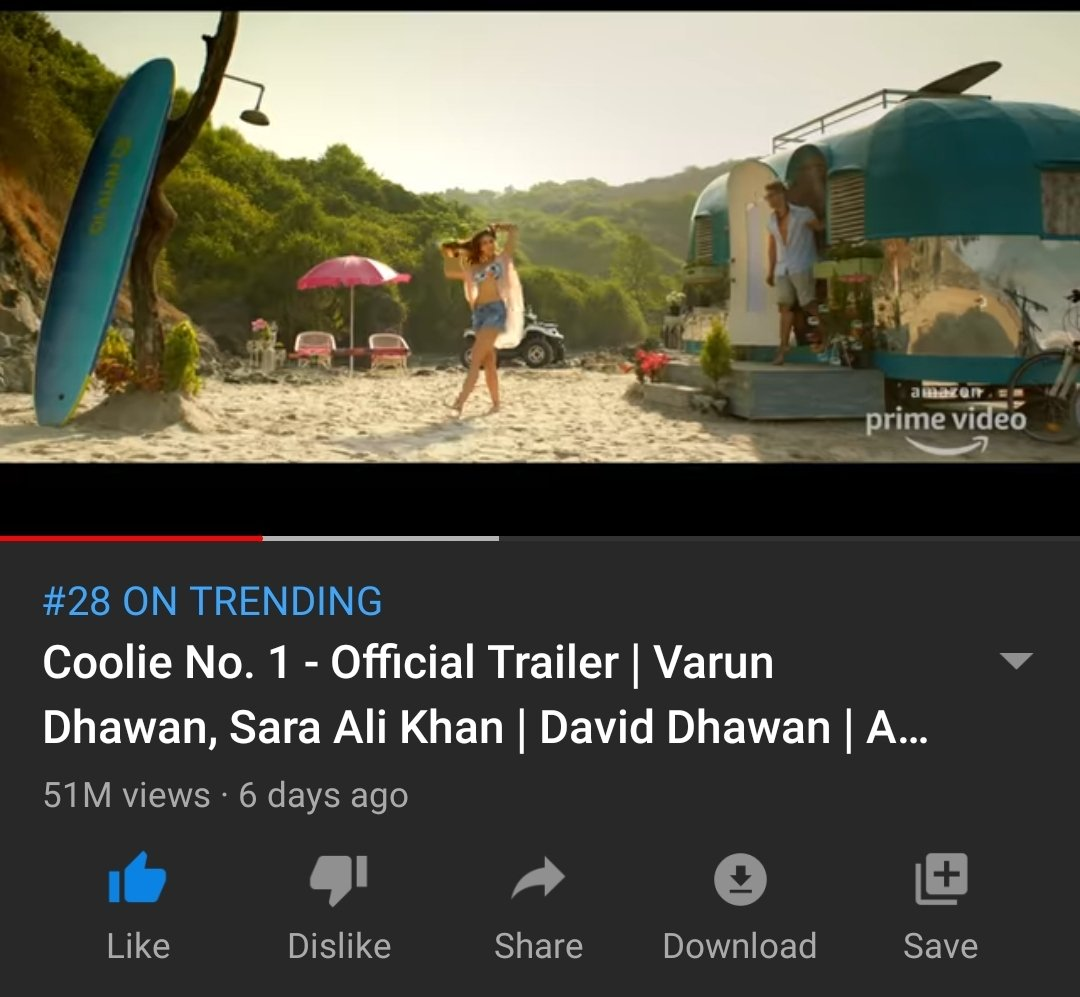 #CoolieNo1 trailer and #TeriBhabhi trending on YouTube with 51 mil and 23 mil views respectively. To the haters tujhko mirchi lagi toh main kya karun  #SaraAliKhan #VarunDhawan