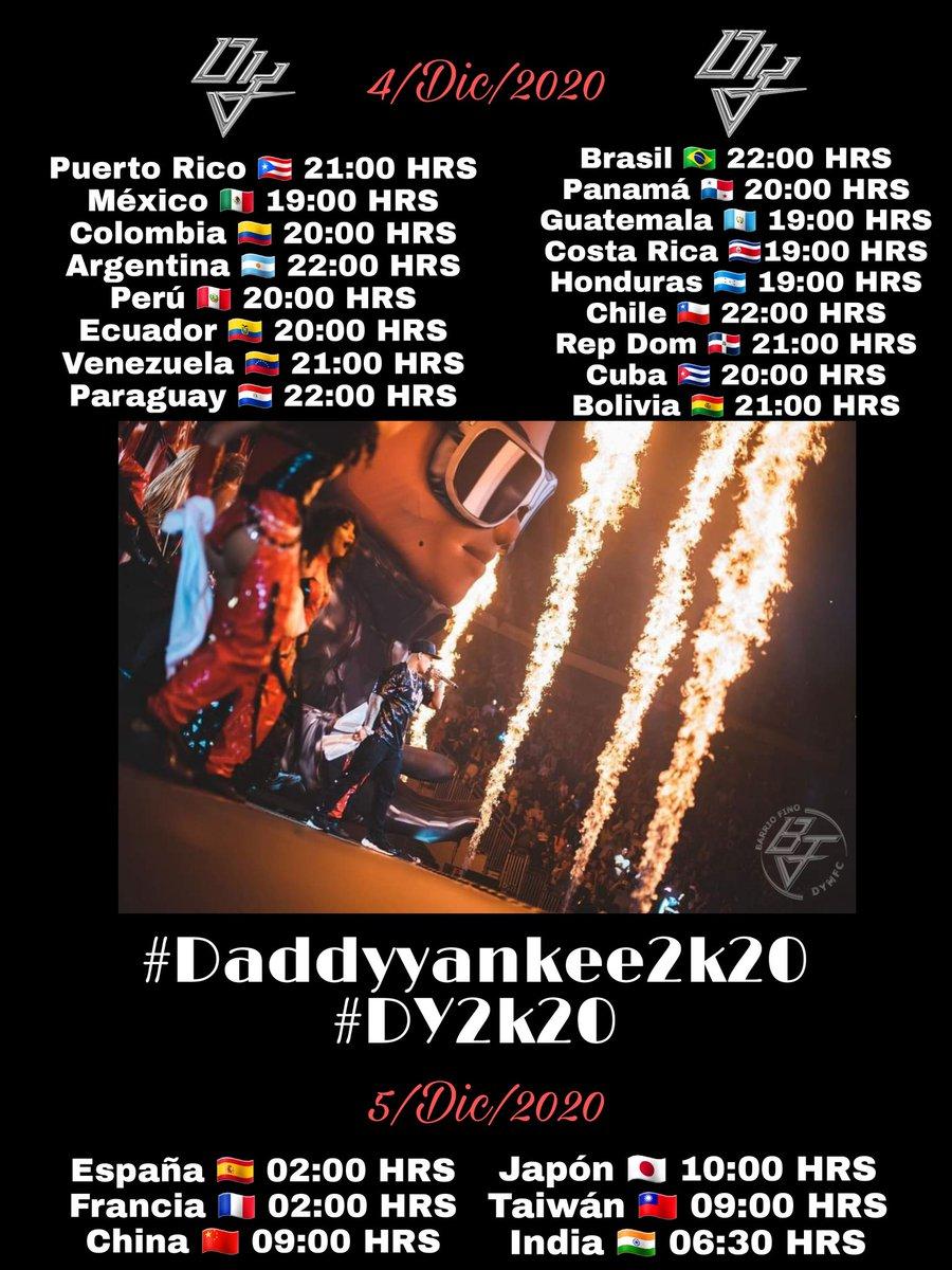 Aqui alguno de los horarios para que no te pierdas de #Daddyyankee2k20 @daddy_yankee  Activa tu recordatorio aquí ⬇️   #DY2k20 #Daddyyankee2k20 #BarrioFinoDYMFC @nevarezpr @PINARECORDS1 @BarriofinoDYMFC #ConCalma #ConCalmaTour #ConCalmaPalCholi @YouTube