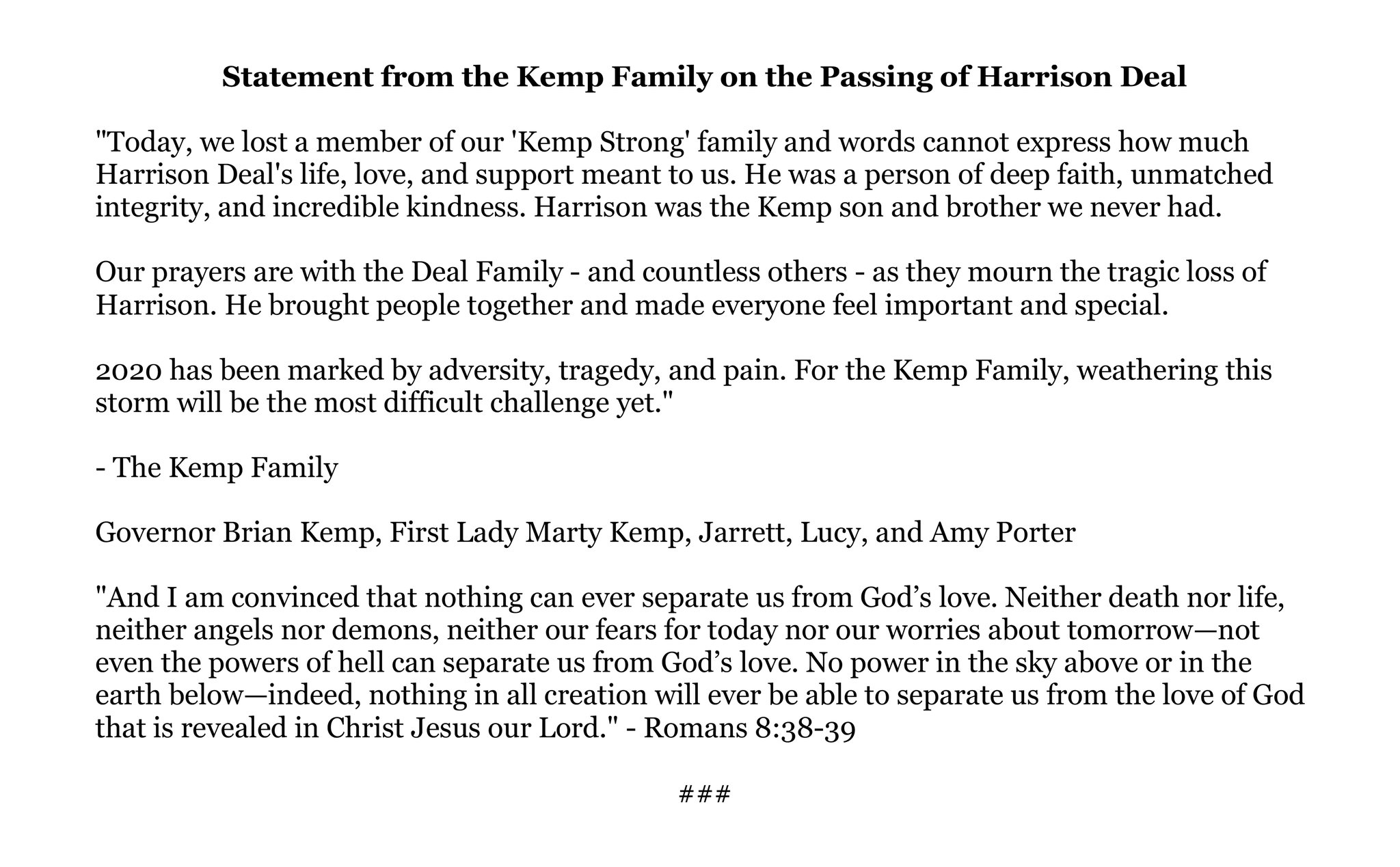 """Governor Brian P. Kemp on Twitter: """"Statement from the Kemp Family on the  Passing of Harrison Deal:… """""""