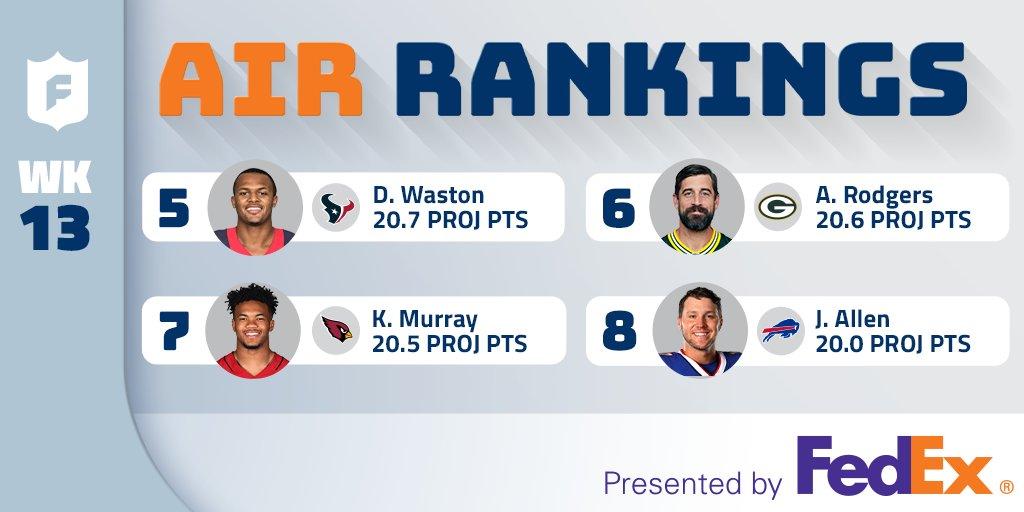 QB & RB rankings for Week 13! Thanks, @cfrelund!! (via @FedEx)