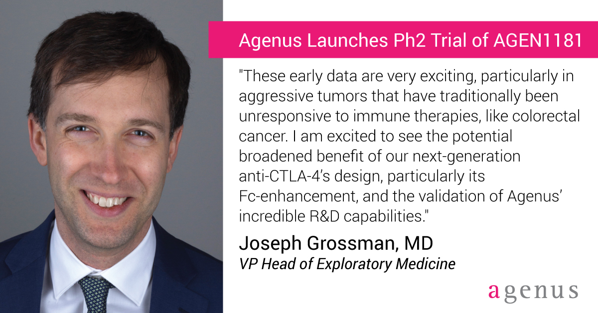 test Twitter Media - $AGEN is excited to welcome Dr. @JoeGrossman7 as VP Head of Exploratory Medicine! Dr. Grossman is a GI cancer expert who joins Agenus from @harvardmed and @BIDMChealth. Read more about Dr. Grossman and his thoughts on AGEN1181 Ph2 trial expansion: https://t.co/eK3sFscEeo https://t.co/Cioxdk0eUB