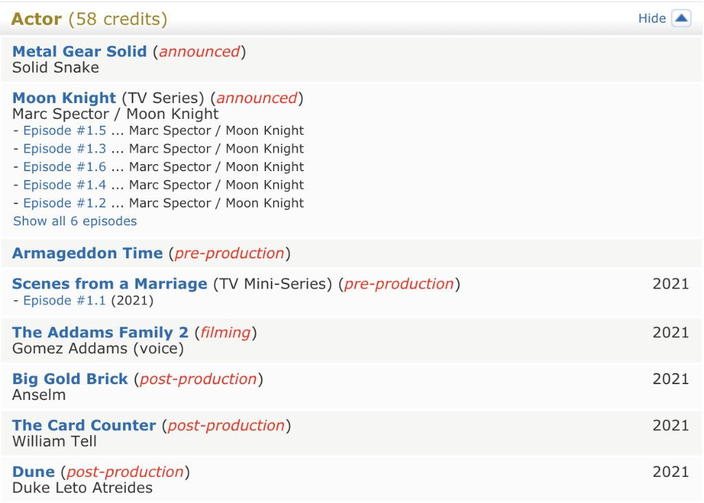 oscar isaac's imdb is very pleasing
