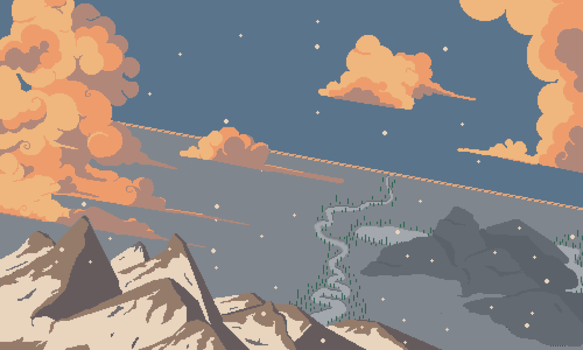 Day 24: Working on some environmental art again. Experimented with some large-scale angles. Had some success with clouds, mountains, and lighting!   A nice snowy morning in the mountains. Reminds me of Colorado 🏔️  #pixelart #ドット絵 #aseprite #colorado #mountains https://t.co/0fDFlaqT6E