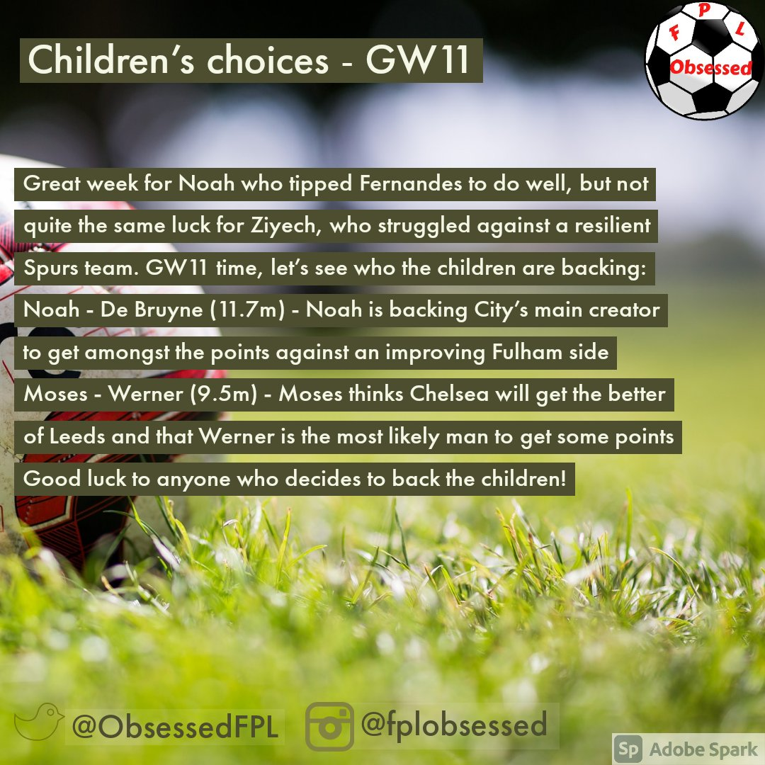 GW11 Children's Choices 👀 . . #fpl #fplcommunity #fpltips #premierleague #football #fantasyfootball #fplobsessed #premierleaguefantasy #fantasypremierleague #soccer #pl #fplfamily #gw11 #children #choices #childrenschoices #debruyne #werner
