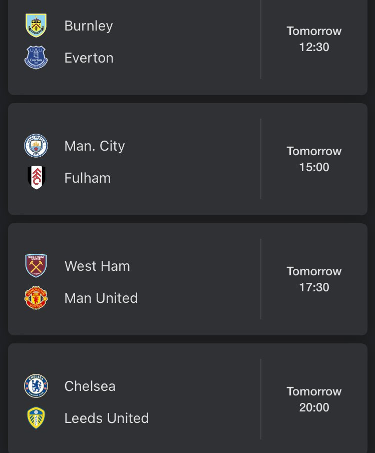 Back at it tomorrow, more Premier League action. Match week 11 starts!  (Possibly no match coverage this weekend, due to certain circumstances.)  #PremierLeague #EPL #PL