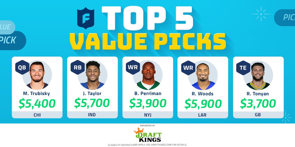 The top 5 @draftkings' value picks for Week 13!