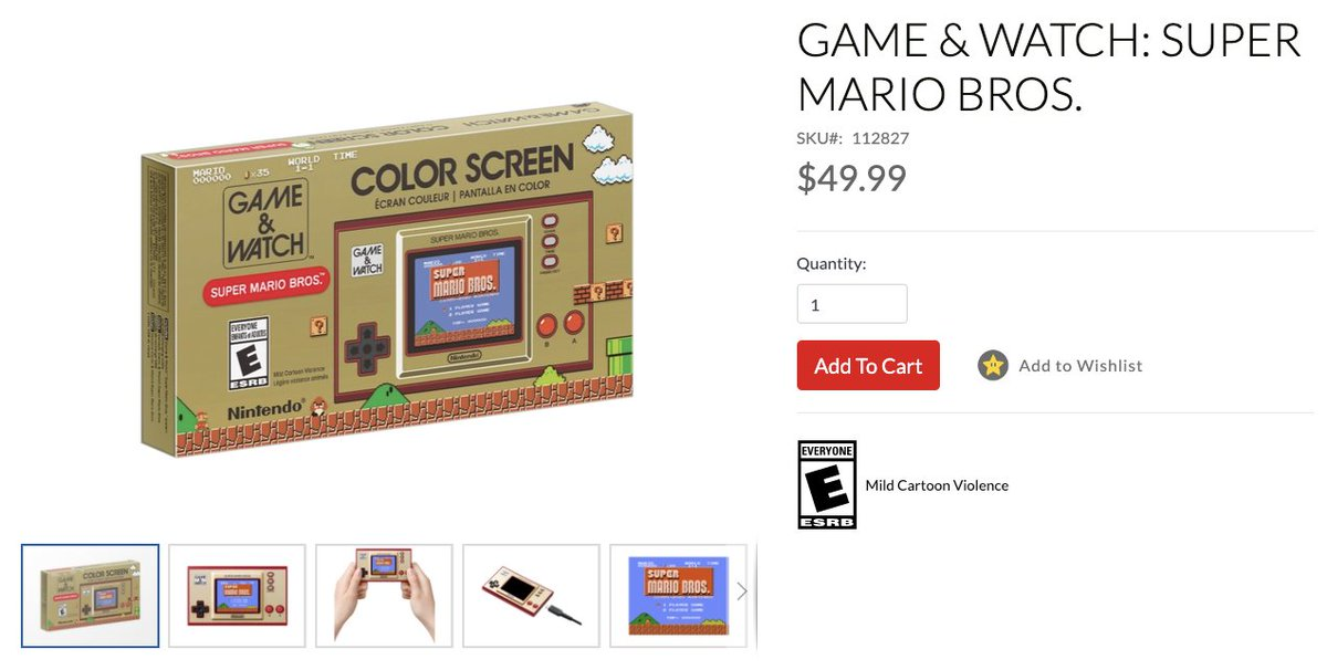 Game & Watch Super Mario Bros. is back up on the Nintendo Store: 2 $49.99