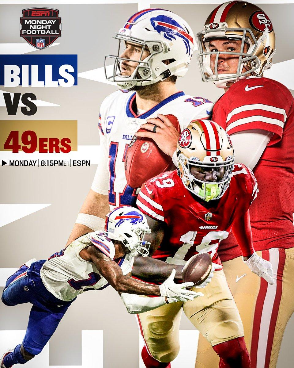 Who's getting a prime time W?  #BillsMafia | #FTTB   📺: #BUFvsSF -- Monday 8:15pm ET on ESPN 📱: NFL app // Yahoo Sports app