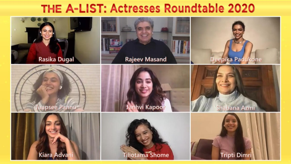 So much talent! Eight of the year's best actresses across Hindi films and streaming shows assemble (virtually) to talk about the role of art in a difficult year, and reveal the best piece of acting they've seen this year. The A-List: Actresses Roundtable 2020. Out next week!