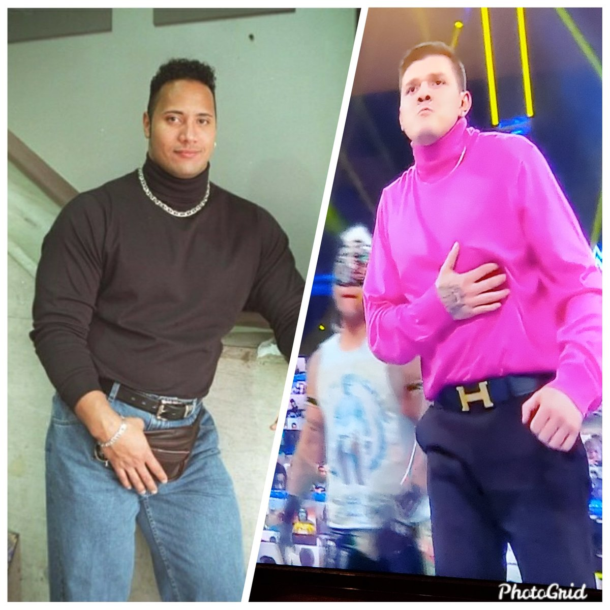 wondering how @TheRock  feels about @DominicMywwe outfit on @WWE on #SmackDown  tonight. #whoworeitbetter ?????? #thepeopleschoice