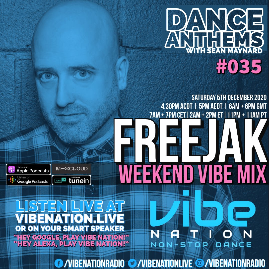 Jumping on @vibenationlive in a bit for this week's Dance Anthems with my guest @DJFreejak in the Weekend Vibe Mix. #radio #vibe #dance #weekend #Saturday #edm #house #techhouse #bass https://t.co/bD2N00dchE