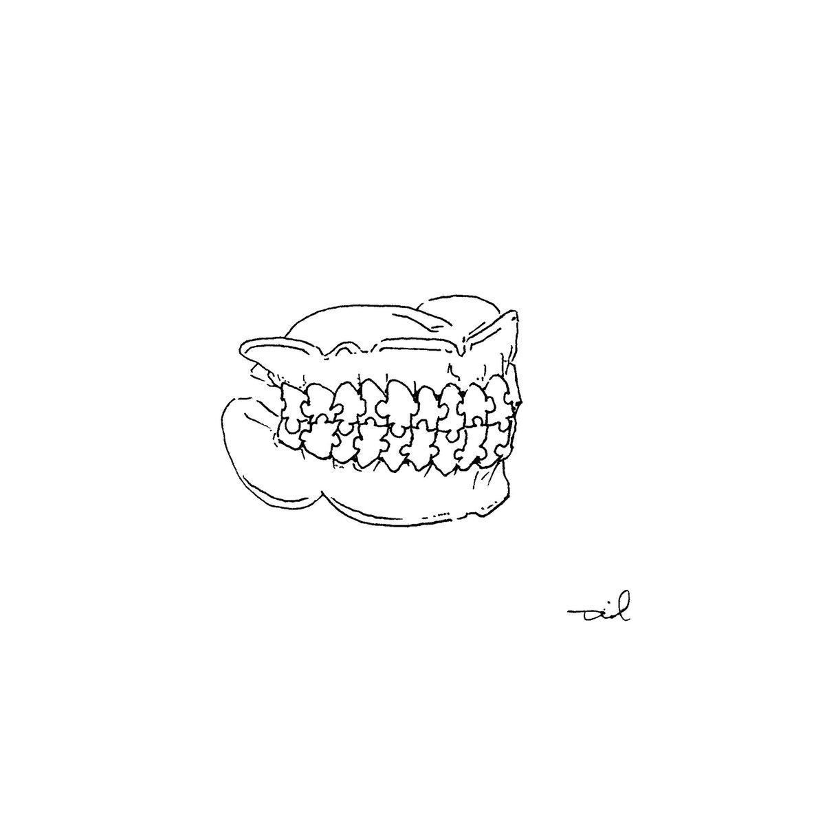 . No.1664【マウスピース】 #art #artwork #drawing #illustrator #illustration #illust #paint #scketch #アート #ドローイング #デザイン #イラスト #イラストレーション #スケッチ #絵 #tonnotil #歯 #パズル #tooth #puzzle