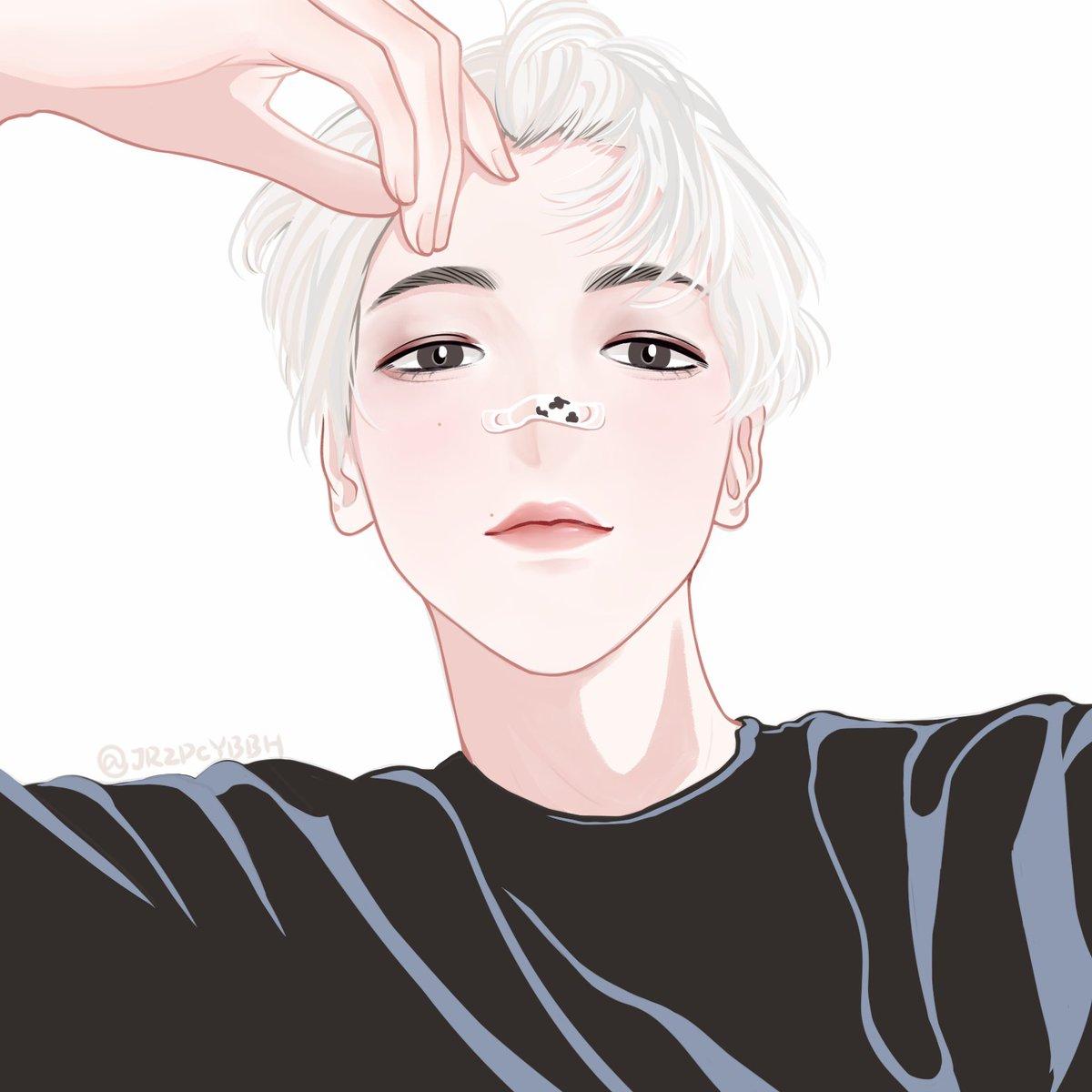 BBH🖤  这个角度鼻子好难画😭 @B_hundred_Hyun  #EXO #exofanart #FANART #baekhyun #변백현 #边伯贤 #illustration #drawing