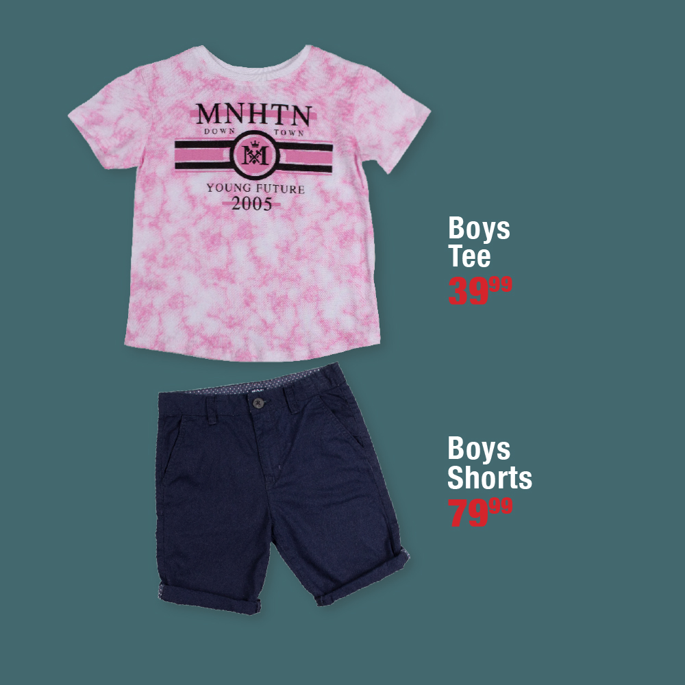 Get your little ones Summer ready..  Available in sizes 2-8yrs at selected stores.  Girls Tees 29.99 and Skirts 49.99 Boys Tees 39.99 and Shorts 79.99  #choiceclothing #wearchoice