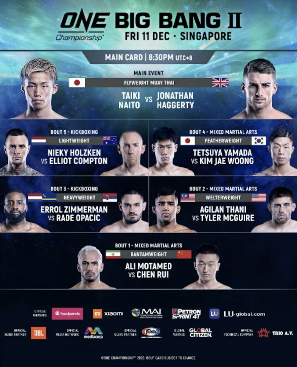This is how next week's ONE: Big Bang 2 card looks!   #ONEChampionship  #BigBang2   Check out the full ONE: Big Bang results and replay here: