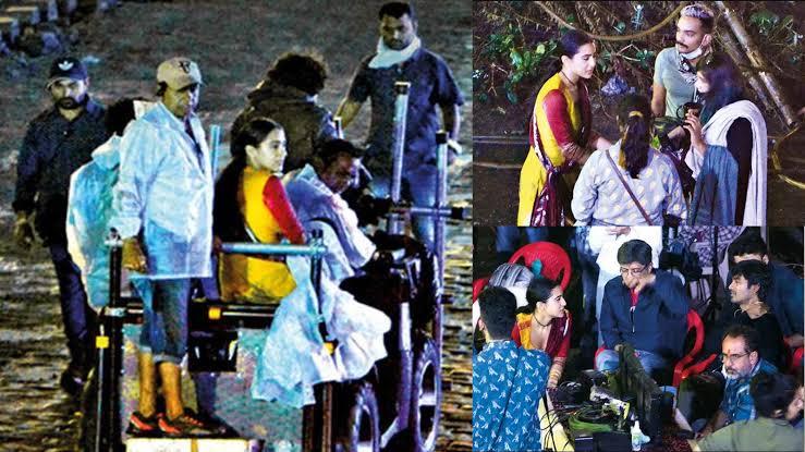 Photos from last night's shooting from on the sets of #AtrangiRe   #SaraAliKhan #AkshayKumar #Dhanush