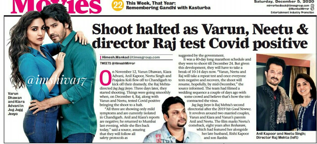 #VarunDhawan , #NeetuKapoor ,  director #RajMehta have reportedly test #COVID positive   Shooting of #JugJuggJeeyo has been put on hold   Get well soon @Varun_dvn